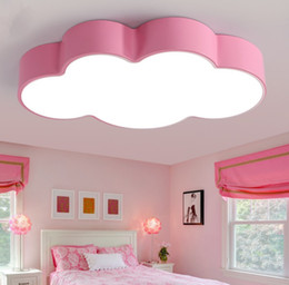 Wholesale Kids Ceiling Lights For Bedroom - LED cloud kids room lighting children ceiling lamp baby ceiling light with yellow blue red white color for boys girls bedroom fixtures LLFA