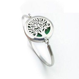 Wholesale High Christmas Tree - New tree of life Aromatherapy Bracelet 316L s.steel Essential Oils Diffuser Locket Bangle high quality jewelry Free Shipping (free felt pads