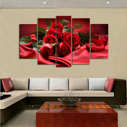 Wholesale Rooms Painted Red - 5 Pieces modern fashion HD print pictures romantic red rose oil painting on canvas home decoration for living room bedroom