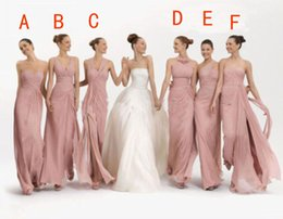 Wholesale Dusky Pink Dresses - Stunning Mix Bridesmaid Dresses in Six Different Sytles Dusky Pink Chiffon Beach Style Long Wedding Party Sisters Bridesmaids Dresses