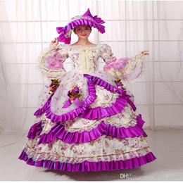 Argentina Venta caliente Purple Britain siglo XVIII Belle película vestido Renacimiento Medieval Marie Antonieta fiesta vestido rococó para las mujeres cheap medieval dress purple Suministro
