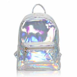 Wholesale Gifts Teenage Girls - Newest 2017 Silver Hologram Laser Backpack Girl School Shoulder Bags For Teenage Girls Women Soft PU Leather Backpack Mochilas Feminina Gift