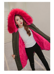 Wholesale Girl S Long Coat Down - Blue Faux Fur Coat Women Down Jacket Winter Parkas Big Fur Hooded Warm Outwear Thcker Clothes Warm Flannel Girl Ladies Fashoin Clothing
