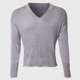 ffae8e3ab Wholesale-Men Deep V Neck Sweaters Vintage Knitted Pullover Male Sexy Cable Knit  Sweater Long Sleeve Raw Edge Cut Designer Wear