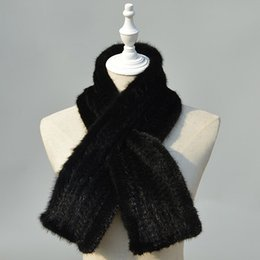 Wholesale Knitted Mink Scarves - Ms. LeeFur Real mink fur knitted scarf brand new fashion men and women warm winter wraps