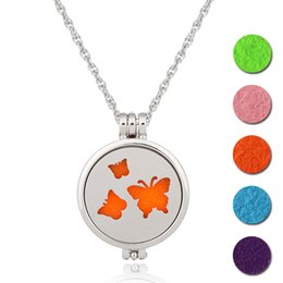 Wholesale Crystal Butterfly Pendant Necklace - NEW Perfume Disffuser Necklaces 9 Styles Aromatherapy Locket Essential Oil Diffuser Necklaces Butterfly Deer Locket Cage Pendant Necklace