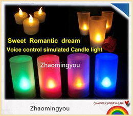 Wholesale Tea Sound - High quality Sweet Romantic LED Candle Light Flameless Blow Shake Sound Sensor LED Candle Tea Light Semitransparent Cup,10pcs lot