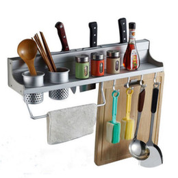 Wholesale Folding Cup Holders - Space Save Kitchen Cookware Racks Stainless Steel Kitchen Storage Holders Racks With Double Cup&8 Hooks
