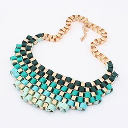 Wholesale Multi Level Necklace - Fashion Gradient Color Metal Necklace Multi Level Exaggerated Short Necklace Vintage Style Bohemian Necklaces Women Jewelry