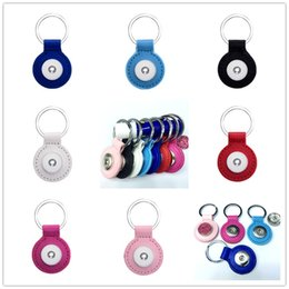 Wholesale Button Components - 3.5cm Zinc Leather Snap button pendant Keychains fashionable multi-color optional DIY Noosa Key chain Car Keyring Accessories Components