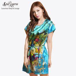 de027b14b8 Wholesale- SpaRogerss Drop Shipping Women Sleepshirts 2017 Indoor Clothing Ladies  Lounge Nightwear Print Casual Dressing Gown Pyjama 10040