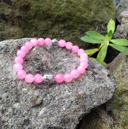 Wholesale Girls Beaded Bracelets - SN0415 Lovely Girls Birthday gift Pink stone buddha bracelet prayer beads mala yoga women stretch stone bead bracelet