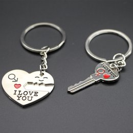 Wholesale Love Express - Sweet Honey Day Gift Heart Shape Keychain + Key Shape Keychain Lover Pair Keychains Express I Love You Support Customized Logo Keychain2016