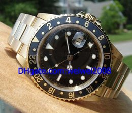 """Wholesale Solid Gold Wrist Watches - Wholesale - New GMT Solid Yellow Gold """"F"""" Men's Automatic Mechanical Watch Black Mens Sport Movement Wrist Watch"""