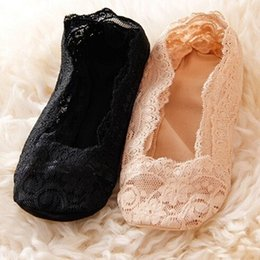 Wholesale Low Heals - Wholesale-New 1pair Women's Lace Ankle Heal Short Sock Low Cut Women's Fashion Invisible Skidproof Lace Ankle Heal Short Cotton