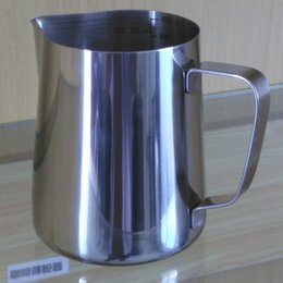 Wholesale Coffee Milk Container - Factory supply 600ml Stainless Steel Milk Frother Pitcher Measuring Cups Milk Foam Container Coffee Tea Appliance With Scale Line LZ0419