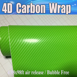 Wholesale Realistic Heads - Apple Green 4D Carbon Fiber Vinyl Like realistic Carbon Fibre Film For Car Wrap With Air Bubble Free covering skin Size 1.52x30m 4.98x98ft