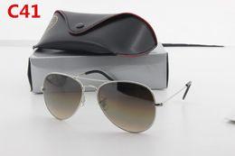 Wholesale High Quality Aviator Glasses - Fashionable Brand Designer High Quality Men and Women Aviator Retro Sunglasses 62mm 58mm Gradient Glass Lens UV Driving Glasses