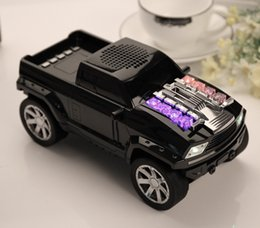 Wholesale Truck Speaker Mp3 - Cool Pickup Truck Car Bluetooth Mini Speaker with LED Light Portable Wireless Speakers Stereo Subwoofers FM TF SD USB MP3 Player Mic DS-396B