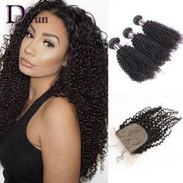 Wholesale Indian Curly Silk Base Closure - 3 Bundles Kinky Curly With Silk Base Closure Peruvian Indian Malaysian Brazilian Hair Bundles Unprocessed Kinky Curly Virgin Hair Extensions