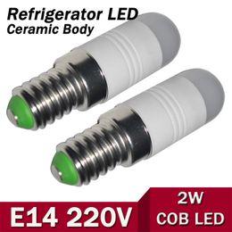 Wholesale Fridge Light Bulbs - Wholesale- NEW MINI E14 Ceramic Body Chandeliers AC 220V 240V LED lamp 2W COB Bulb Candle light Use Fridge Refrigerator Freezer 1pcs lot