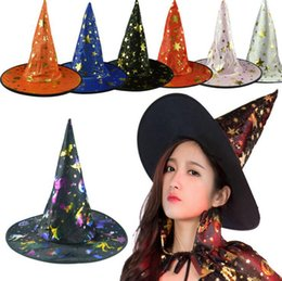 Wholesale Devil Hats - Witch Pointed Cap Colorful Star Print Halloween Costume Party Hats Women Men Halloween Costume Accessory Devil Cap OOA2651