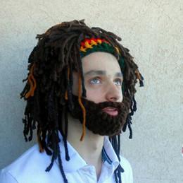 Wholesale Wholesale Half Wigs - Funny Wig Beard Hats Hobo Mad Scientist Handmade Knit Warm Winter Caps Men Women Halloween Gift Party Mask Beanies