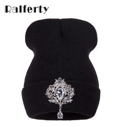 Wholesale Headgear For Winter - Ralferty Winter Women 'S Hats Luxury Crystal Accessory Headgear Beanie Hat For Women Caps Female Beanies Bonnet Femme Gorros
