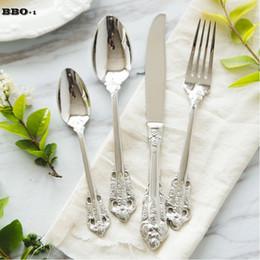 Wholesale Meal Kit - 4pcs set Silver Steak Dinnerspoon Knife Fork Retro Creative Rose Embossed Handle Meal Teaspoon Cutlery Set Kitchen Dinnerware