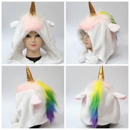 Wholesale Women Earmuffs - Rainbow Unicorn Plush Hat Cosplay Hollaween Winter Warm Unisex Plush Cap Hat Earmuffs Winter Xmas cap LJJK780