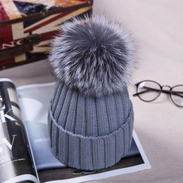 Wholesale Knitted Hats Big Ball - Ms.Leefur Knit Beanies Thicken Winter Adult Hat with Real Fur Pompom Fox Fur Ball Cap Women Hat with Big Fur Ball Unisex