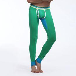 Wholesale Low Waist Cotton Leggings - Men Warm Tight Leggings WJ Long Johns Bulge Pouch Low Waist Cotton Thermal Underwear Autumn Pajamas Bottom