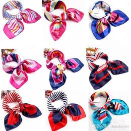 Wholesale Fedex Flights - Satin Silk scarves 123 colors squares scarf Color butyl for flight attendant women professional dress commercial performance Free Fedex TNT
