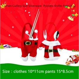 Wholesale Happy Knife - Kitchen Cutlery Suit Happy Santa Claus Tableware Silverware Holders Knifes Folks Pockets Bag Snowman Shaped Christmas Decorations