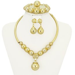 Wholesale Necklace Bracelet Earrings Crystal Balls - 2017 African latest classic style send his wife a surprise ball shaped crystal 18K gold-plated jewelry sets bridal wedding jewelry ~ free sh