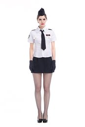 Wholesale Navy Uniforms Women - Newest Design Lady Fasion Stewardess Uniforms White Tops Black Short skirt Black Hat Tie And Black Gloves Fashion Cool Navy Costume Exotic