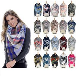 Wholesale Tartan Cashmere Scarves Wholesale - Scarves Plaid Blanket Scarf Women Tartan Tassels Scarf 140CM Grid Shawl Wrap Lattice Neckchief Cashmere Muffler Winter Pashmina OOA2912