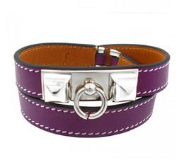 Wholesale Gold Rivet Bangle - 2017 Accessories wholesale two rivet punk wind leather bracelet, double leather spin, Star Bracelet, female Bracelet