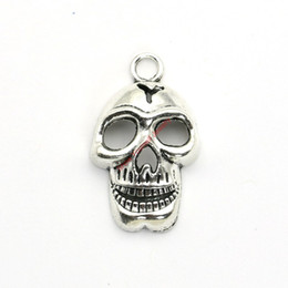 Wholesale Skeleton For Bracelets - 6pcs Antique Silver Plated Skull Skeleton Charms Pendants for Jewelry Making DIY Necklace Bracelet Craft 37x24mm