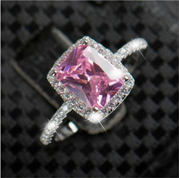 Wholesale Silver Rings Pink Diamonds - Big Promotion 3ct Real 925 Silver Ring SWA Element Pink imitated Diamond Rings For Women Wholesale Wedding Engagement Jewelry New
