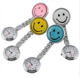 Wholesale Nurse Smiling Face Pocket Watch - 100pcs lot Multi-color Doctor Metal Stainless Nurse Medical Smile Face Watch Watches With Clip Pocket Watch