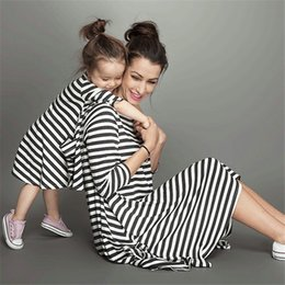Wholesale Ladies Free Size Dress - 2016 Women Long Sleeve Stripe Dress Womens Lady Striped Dresses Fashion Casual Spring Autumn Clothing for Mother Ladies Clothes Wholesale
