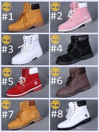 Wholesale White Ankle Boot Womens - Fashion New Timberland 6-Inch Leather Premium Winter Snow Boots for Women Outdoor Waterproof Red Pink White Womens Ankle Boots Size 36-40