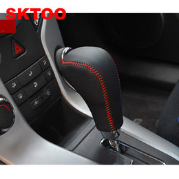 Wholesale Car Automatic Shift Cover - For Chevrolet Cruze 2009-2014 Genuine Leather Gear Shift Knob Cover Automatic Transmission car stying