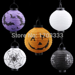 Wholesale Paper Lanterns Holiday Sales - Hot Sale Halloween LED Paper Pumpkin Ghost Hanging Lantern Light Holiday Party Decor Free Shipping 160318#
