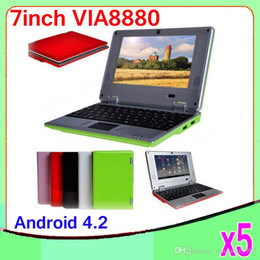 Wholesale Wireless Laptop Camera - 5PCS 7Inch Dual core Android 4.2 VIA 8880 Netbook Notebook Google with Camera HDMI 512MB 4GB MINI Laptop ZY-BJ-1