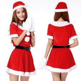 Wholesale Miss Santa Costumes - Women's Santa Baby Costume Quesera Miss Santa Suit Adult Sweetie Christmas Halloween Party Costume Dress CCA7424 30pcs