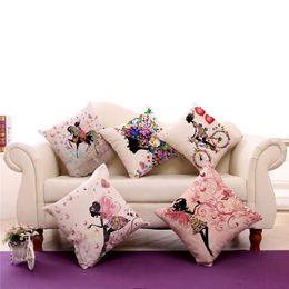 Wholesale Flower Throw Pillow - The Little Girl Fresh Flower Cushion (no insert) Cotton Linen Throw Pillowcase Colorful Pillow Decorative Home Best Gift 240544