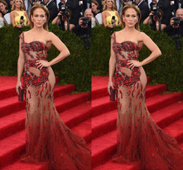 Wholesale Dresses Met - 2016 Jennifer Lopez Met Gala Sexy Illusion Evening Dresses One Shoulder Sleeveless Sheer with Applique Sequins Mermaid Sweep Train 2017