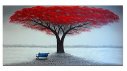 Wholesale Large Tree Wall Art - Unframed (No Frame) Hand Painted Oil Painting on Canvas Large Red Painting Life Tree Modern Wall Art Decoration 120cmx60cmx1panel